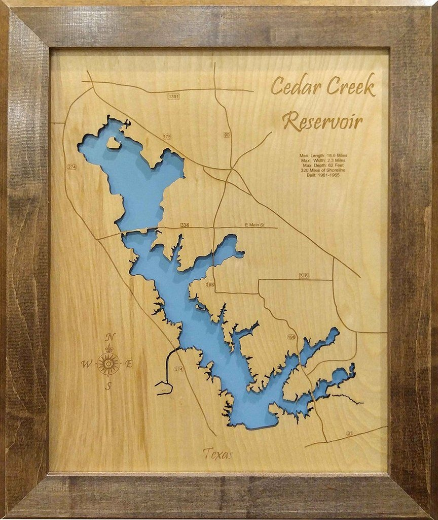 Cedar Creek Lake, Texas - Wood Laser Cut Map | Cedar Creek Reservoir - Cedar Creek Texas Map