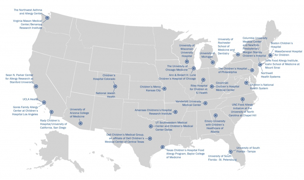 Centers Of Excellence | Food Allergy Research & Education - Texas Children's Hospital Map