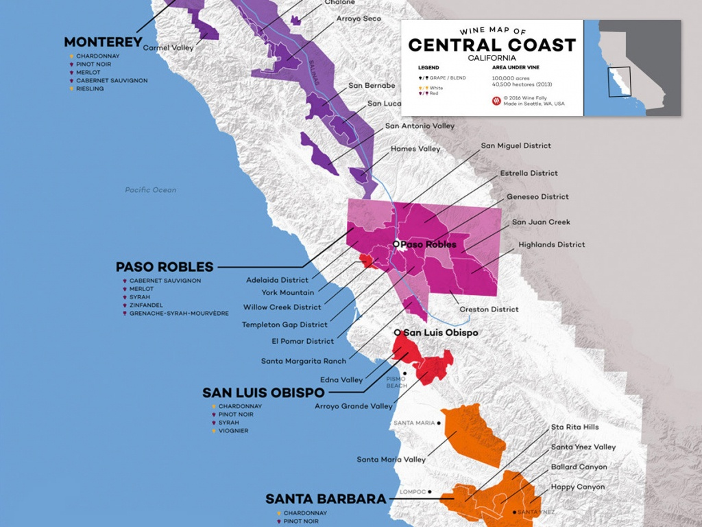 Central Coast Wine: The Varieties And Regions | Wine Folly - California Vineyards Map
