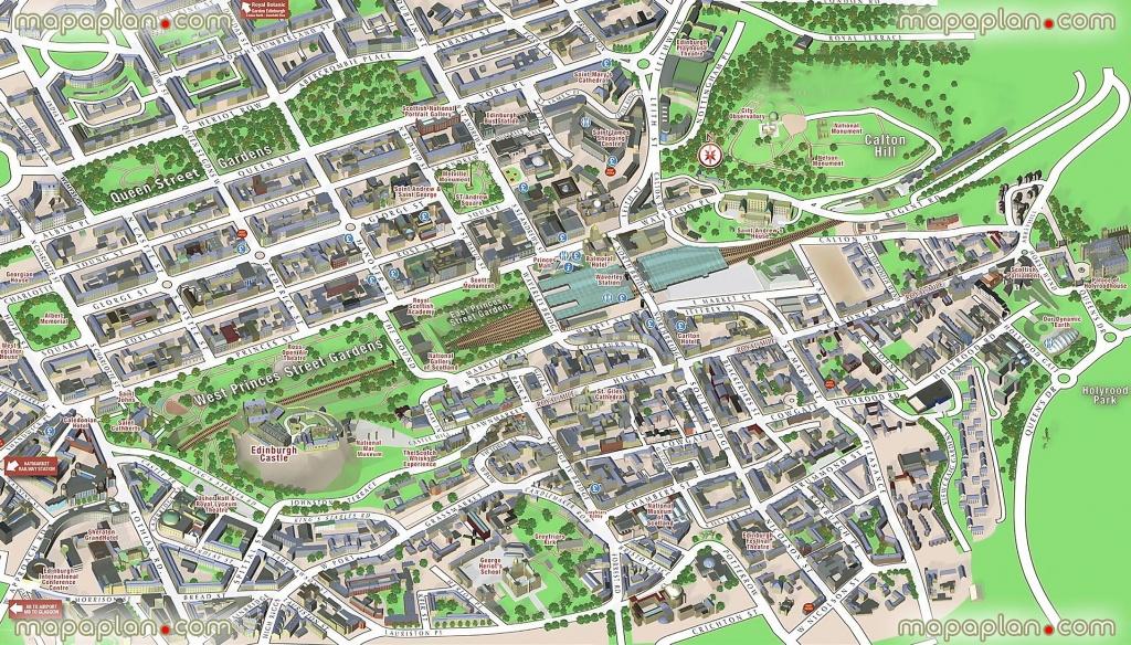 Central Edinburgh Scotland Visitors 3D Interactive Printable Inner - Printable Map Of Edinburgh