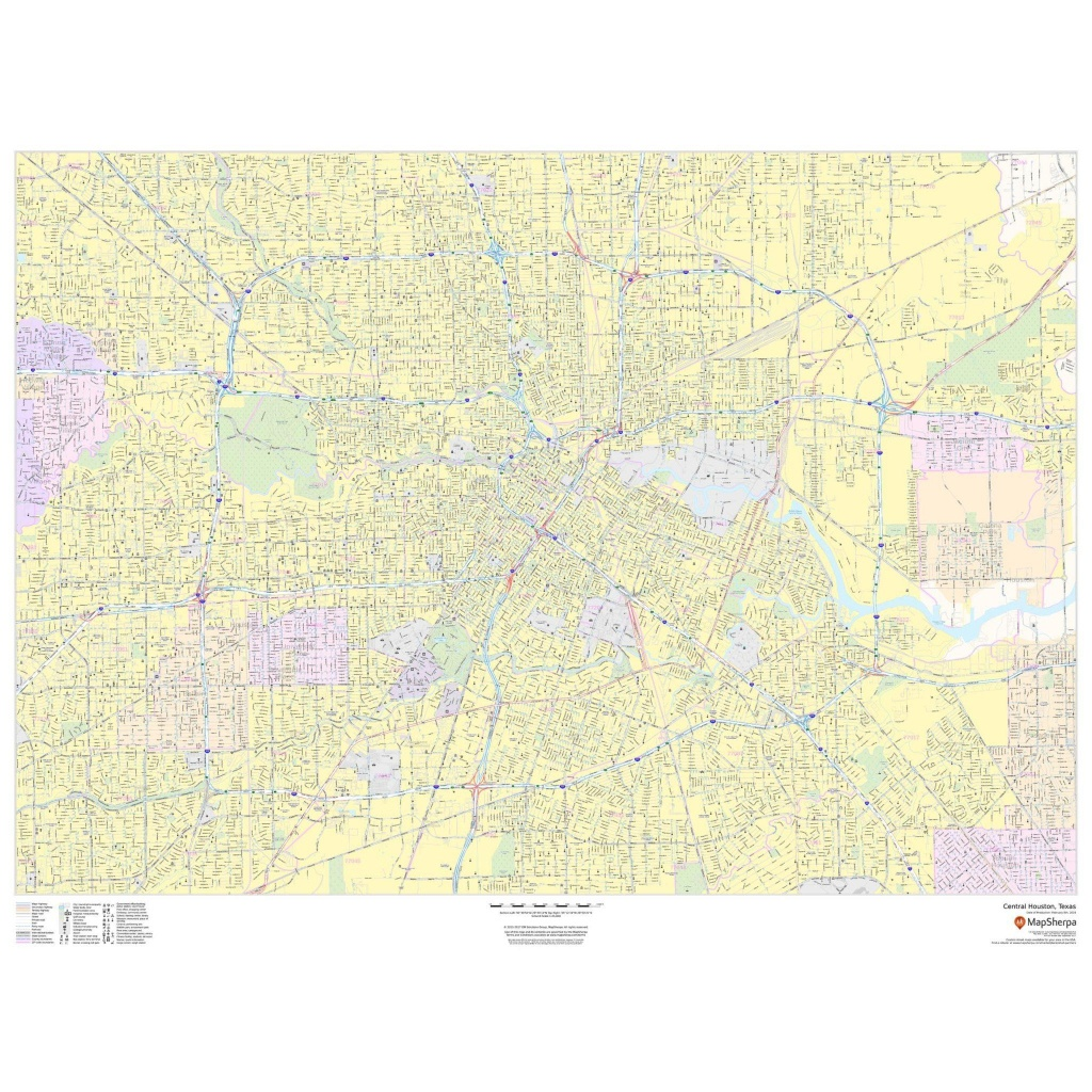 Central Houston, Texas - Landscape - The Map Shop - Houston Texas Map