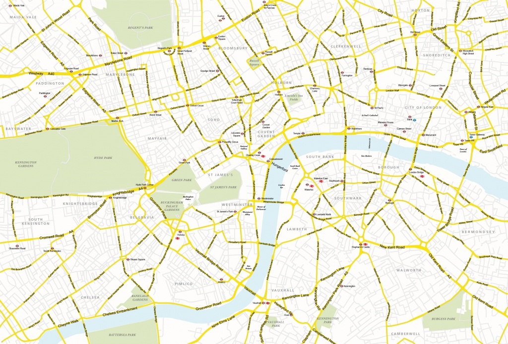 Central London Map - Royalty Free, Editable Vector Map - Maproom - London Street Map Printable