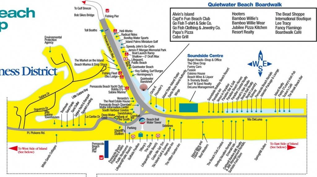 Central Pensacola Beach | East Pensacola Beach | West Pensacola - Myrtle Beach Florida Map