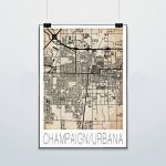 Champaign Urbana Map Print Poster Street Map Grunge | Etsy   Printable Map Of Champaign Il