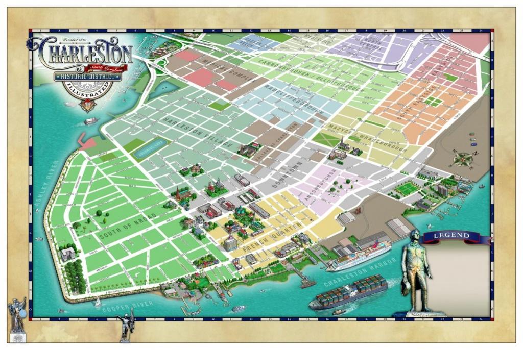 Charleston Historic District Illustrated Map - Map Gallery - Cartotalk - Printable Map Of Charleston Sc Historic District
