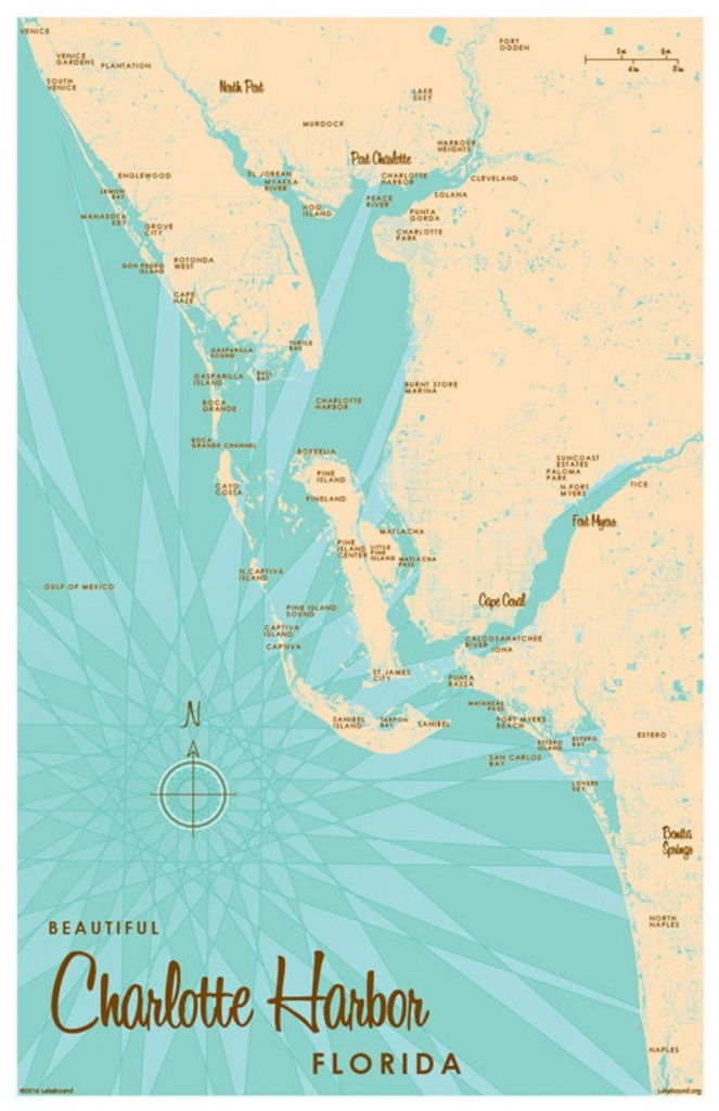 Charlotte Harbor Fl Map Art Print | Etsy - Charlotte Harbor Florida Map