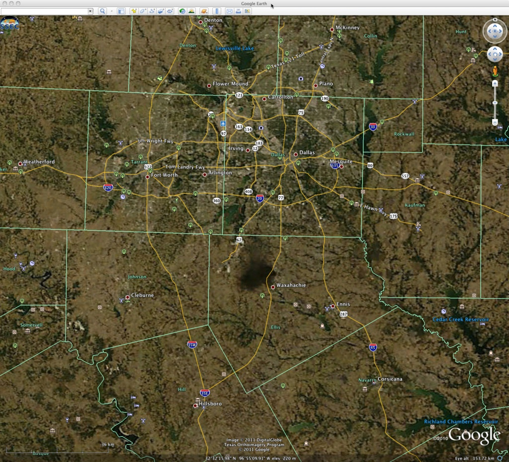Chemical Plant Fire Near Dallas, Texas « Cimss Satellite Blog - Google Earth Texas Map