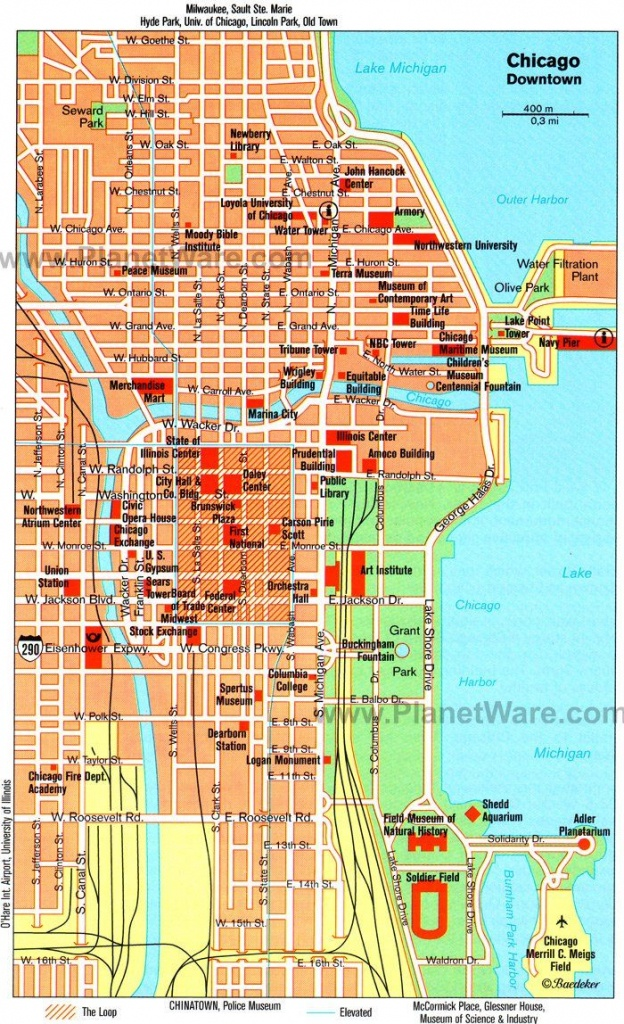 Chicago Downtown Map - Tourist Attractions   Chicago Year Round In - Map Of Chicago Attractions Printable