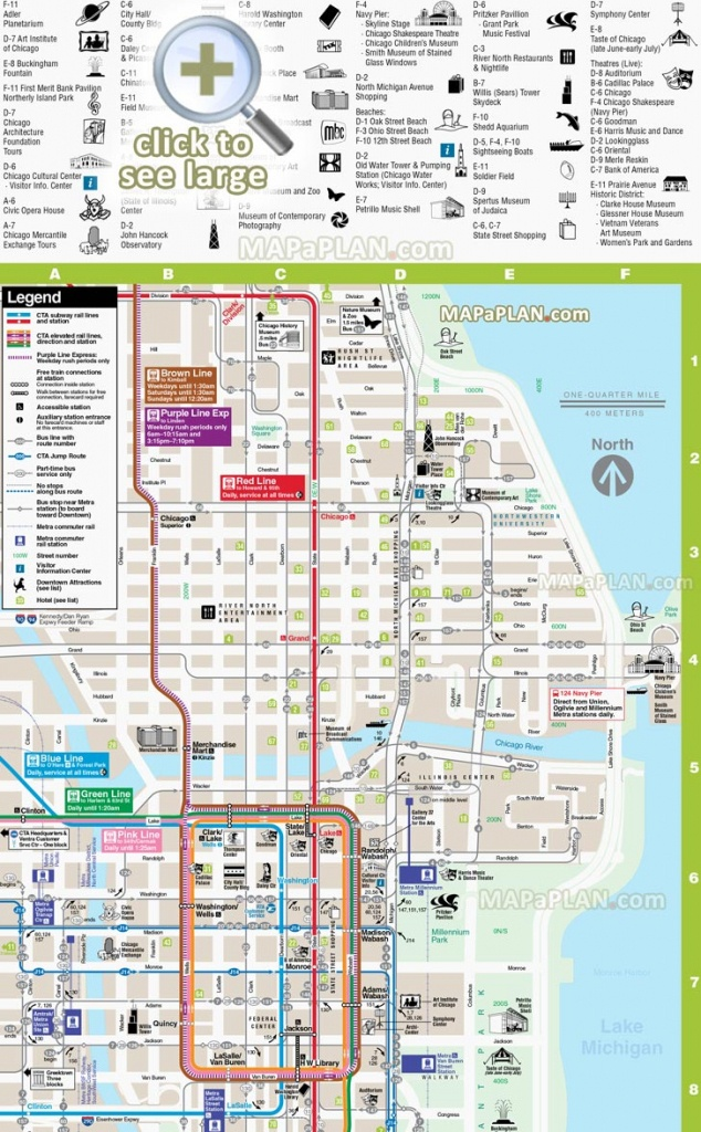 Chicago Maps - Top Tourist Attractions - Free, Printable City Street Map - Chicago City Map Printable