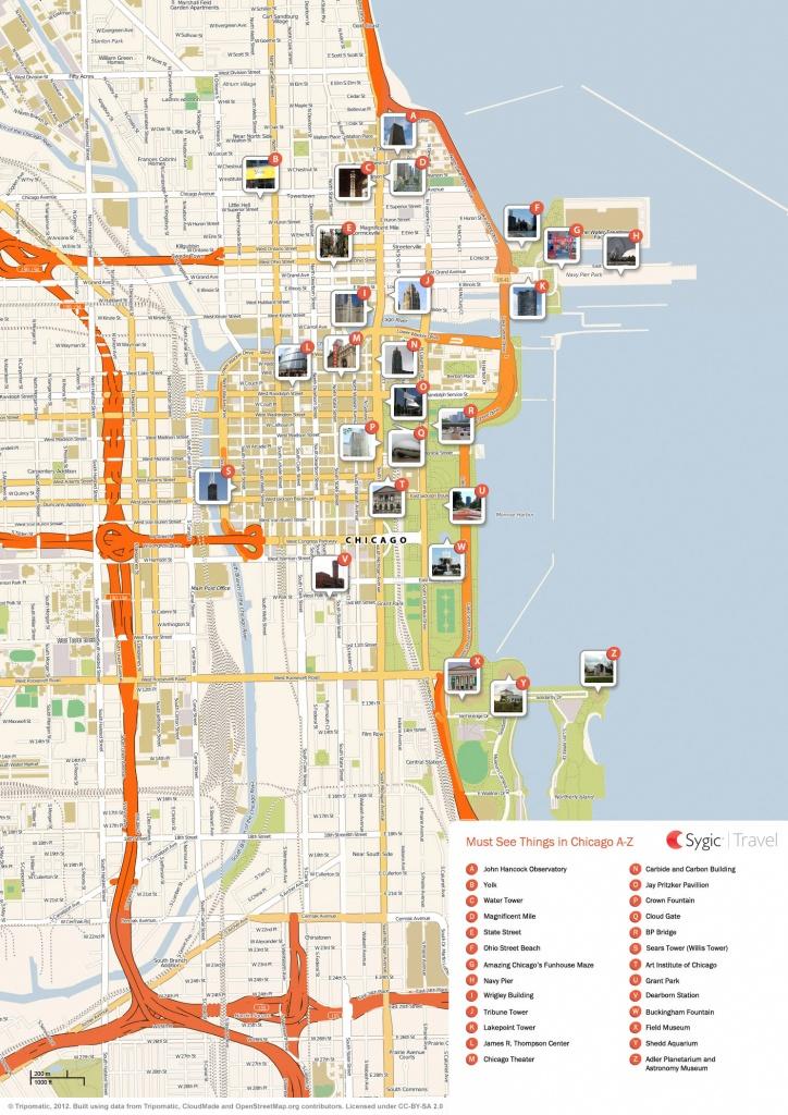 Chicago Printable Tourist Map | Sygic Travel - Chicago City Map Printable