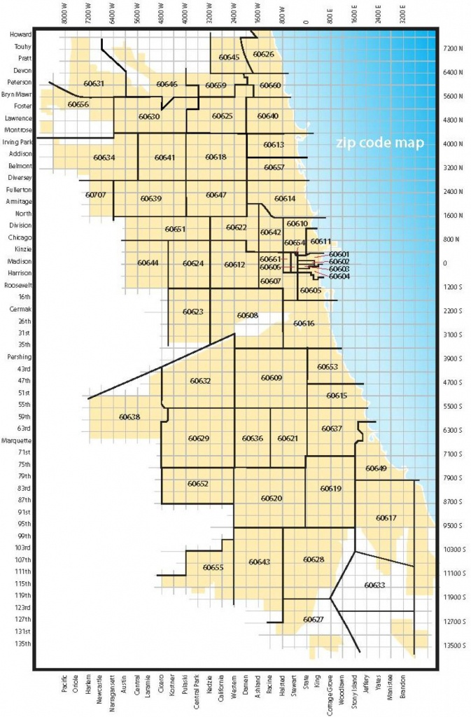 Chicago Zip Code Map - Map Of Chicago Zip Codes (United States Of - Chicago Zip Code Map Printable