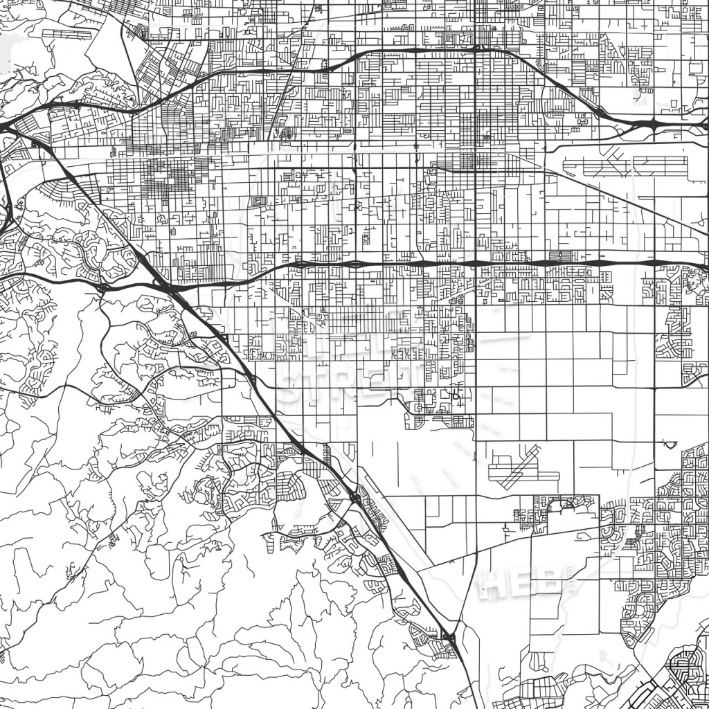 Chino, California - Area Map - Light | Hebstreits Sketches - Chino California Map