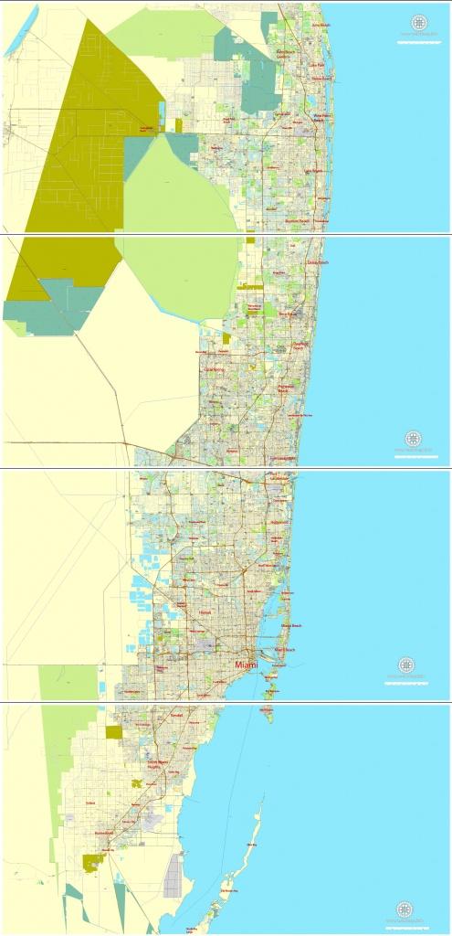 City Map Miami Vector Urban Plan Adobe Pdf Editable Street Map - Coral Beach Florida Map