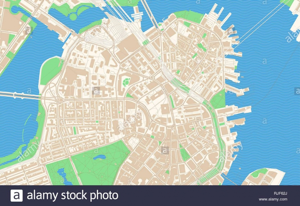 City Of Boston Map Stock Photos & City Of Boston Map Stock Images - Printable Map Of Downtown Boston