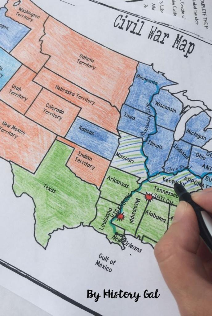 Civil War Map Activity   U.s. History Ideas   Map Activities - Printable Civil War Map
