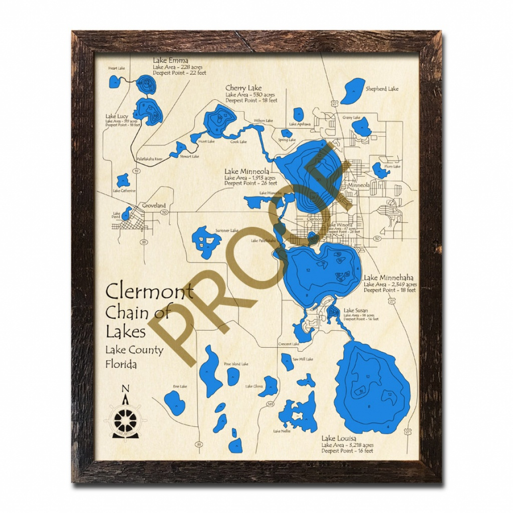 Clermont Chain Of Lakes, Fl Wood Map | 3D Topographic Wood Chart - Florida Lakes Map