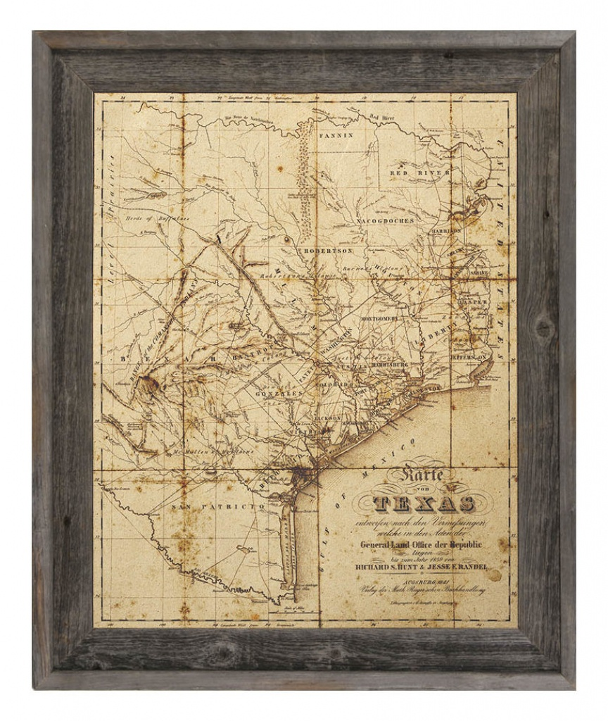 Click Wall Art 'sepia Texas Map' Framed Graphic Art & Reviews - Framed Texas Map