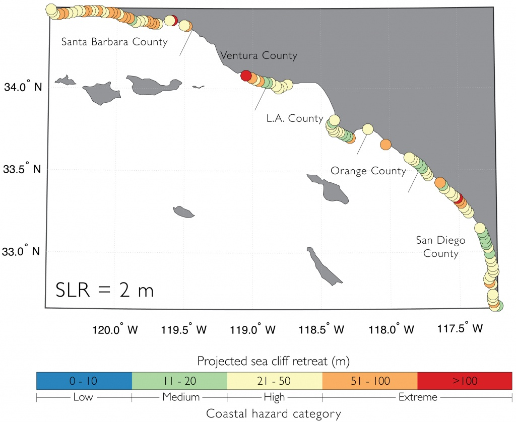 Cliff Retreat Forecasts Of Southern California Coastline. - Map Of Southern California Coastline