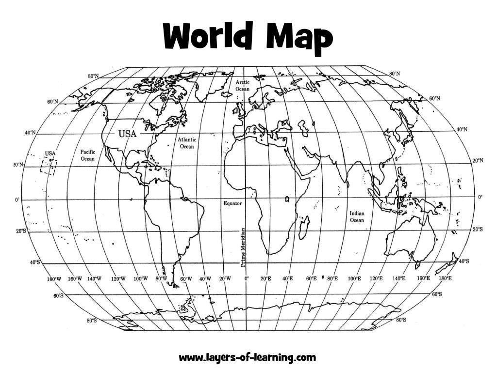 Climate: Latitude And Longitude World Map Grid Layers Of Learning - Printable World Map With Latitude And Longitude