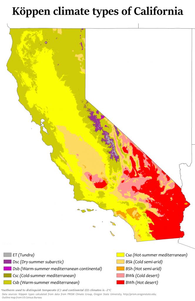 Climate Of California - Wikipedia - California Demographics Map