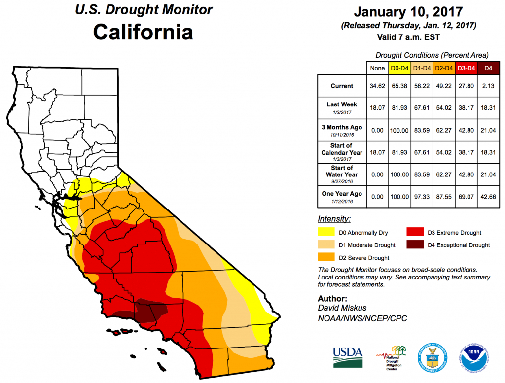 Climate Signals | Map: Us Drought Monitor California, January 10, 2017 - California Drought 2017 Map