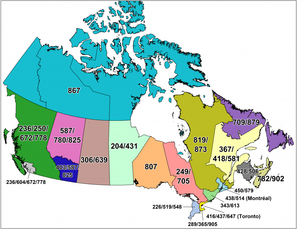 Cna -Canadian Area Code Maps - Printable Area Code Map