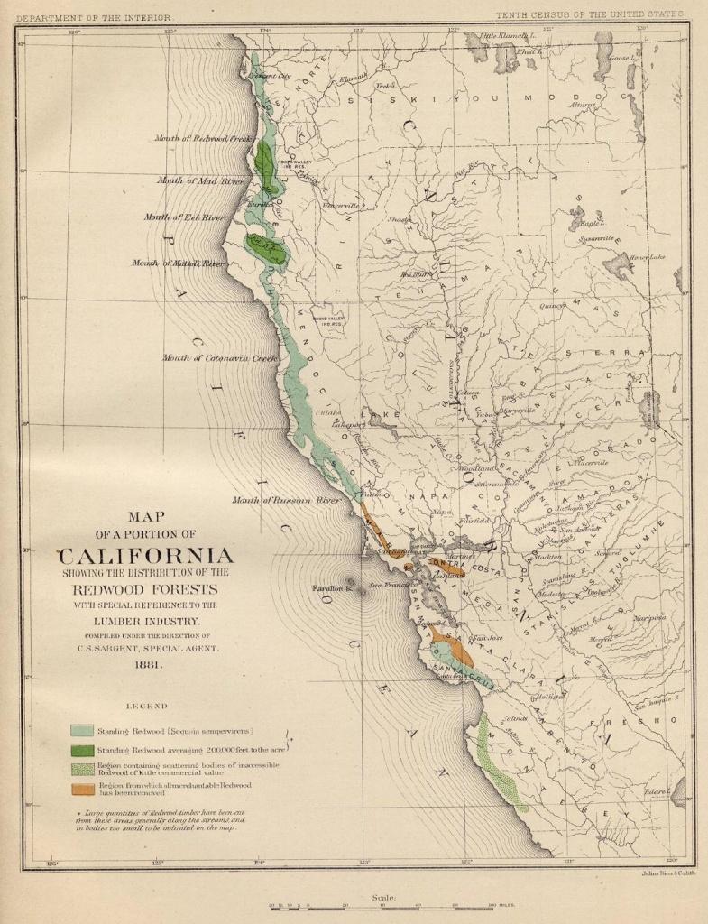 Coast Redwood Range And Biogeography - Redwoods Northern California Map