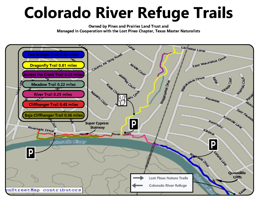 Colorado River Trails | Lost Pines Chapter - Lost Pines Texas Map