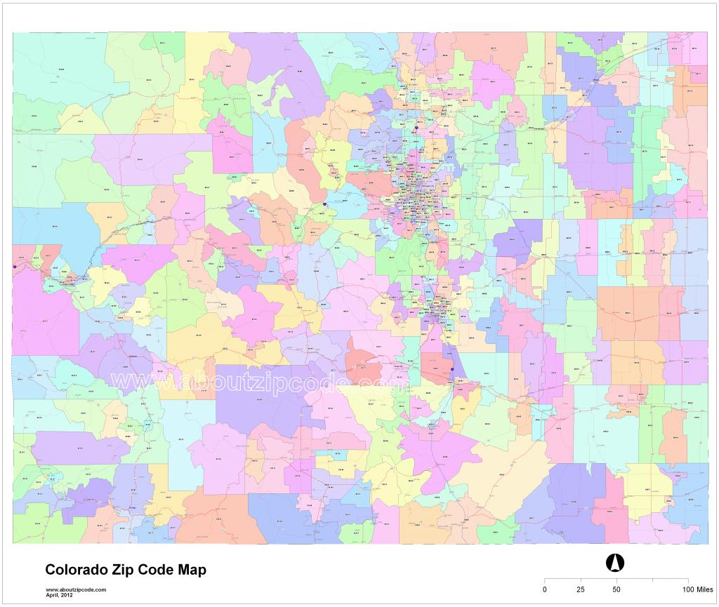 Colorado Zip Code Maps - Free Colorado Zip Code Maps - Colorado Springs Zip Code Map Printable