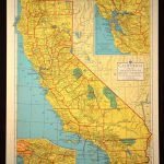 Colorful Yellow Vintage California Map California Colorful | Map   California Map Wall Art