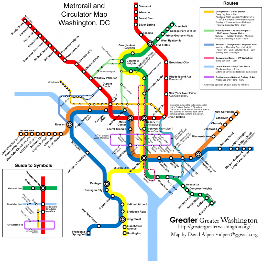 Combine The Circulator And Metro Maps For Visitors – Greater Greater - Printable Washington Dc Metro Map