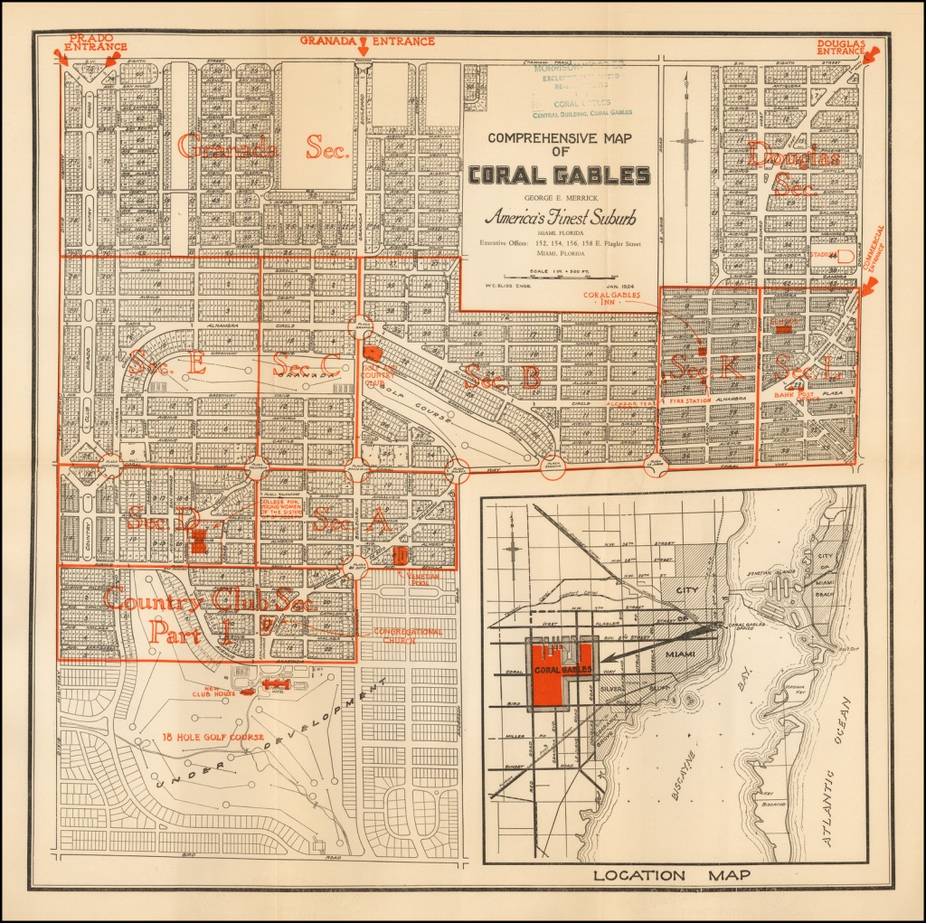Comprehensive Map Of Coral Gables George E. Merrick America's Finest - Coral Gables Florida Map