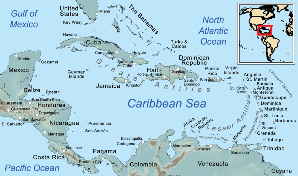 Comprehensive Map Of The Caribbean Sea And Islands - Printable Road Map Of St Maarten