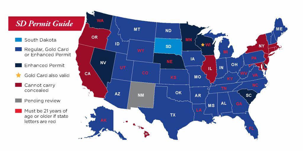 Concealed Pistol Permits: South Dakota Secretary Of State - Texas Reciprocity Map