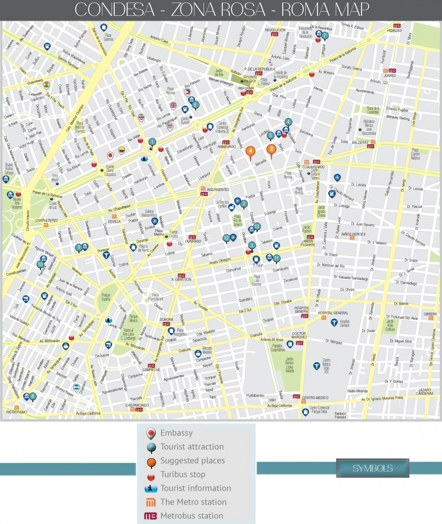 Condesa, Zona Rosa And Roma Map (Mexico City) - Roma Texas Map