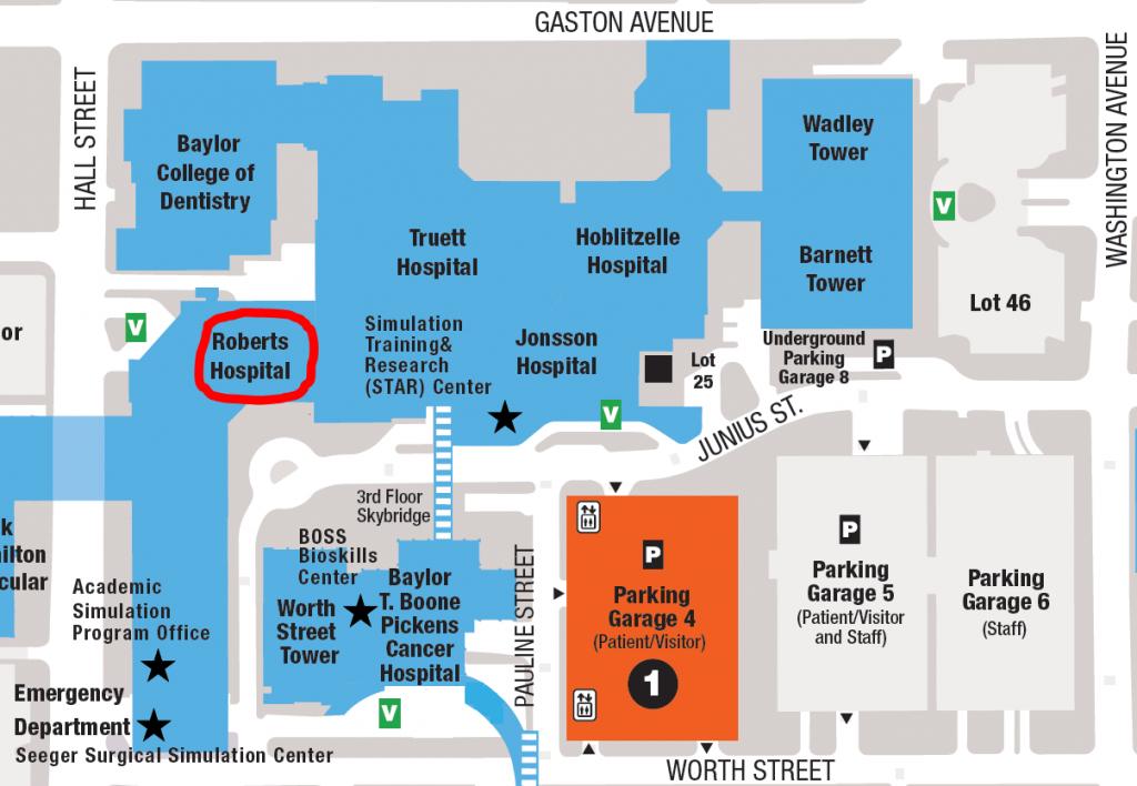 Contact Us - Baylor Hospital Dallas Texas Map