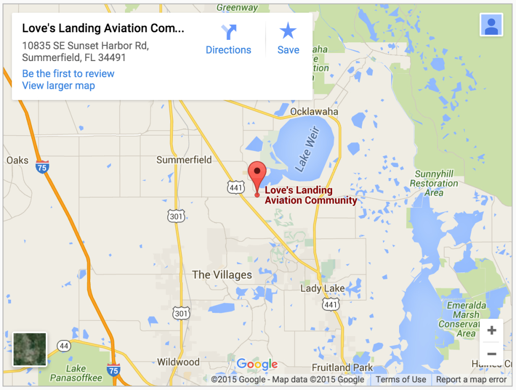 Contact Us | Love's Landing - Gated Airpark Community In Weirsdale, Fl - Summerfield Florida Map