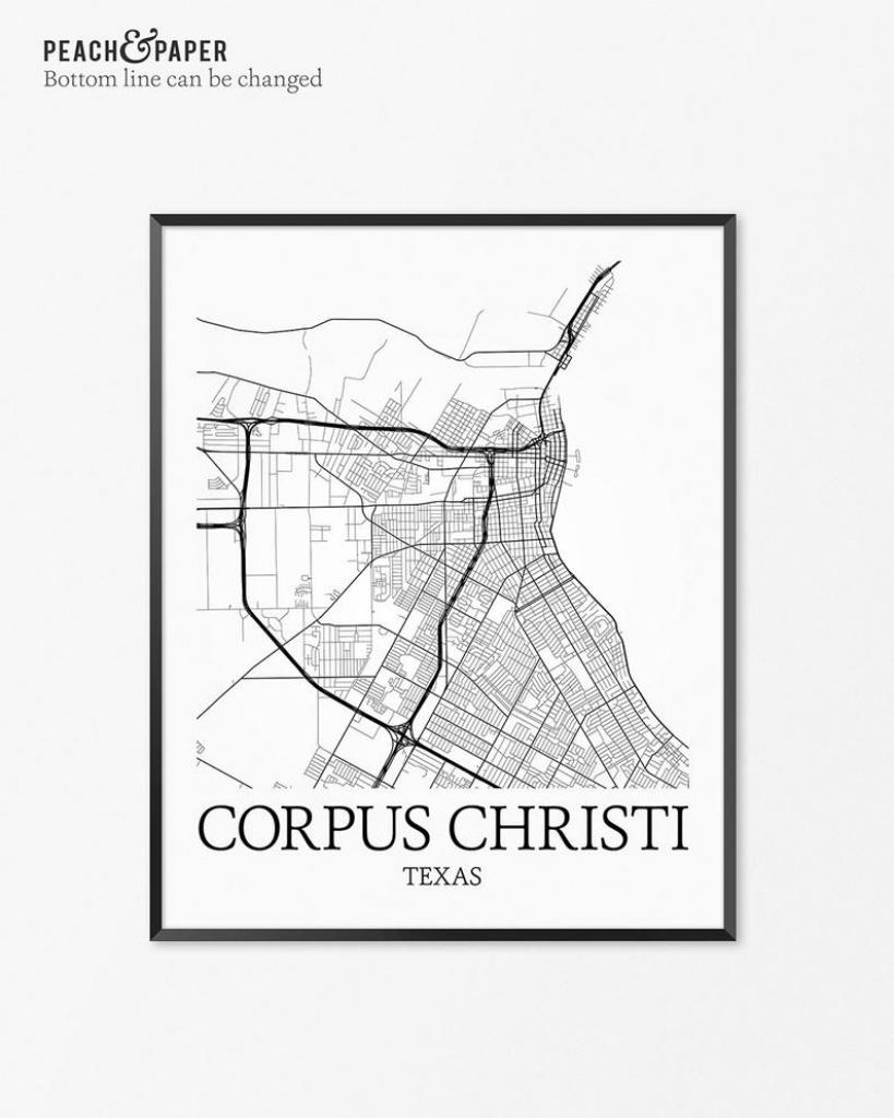Corpus Christi Map Art Print Corpus Christi Poster Map Of | Etsy - City Map Of Corpus Christi Texas