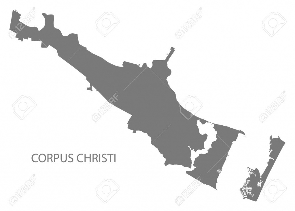 Corpus Christi Texas City Map Grey Illustration Silhouette Shape - City Map Of Corpus Christi Texas