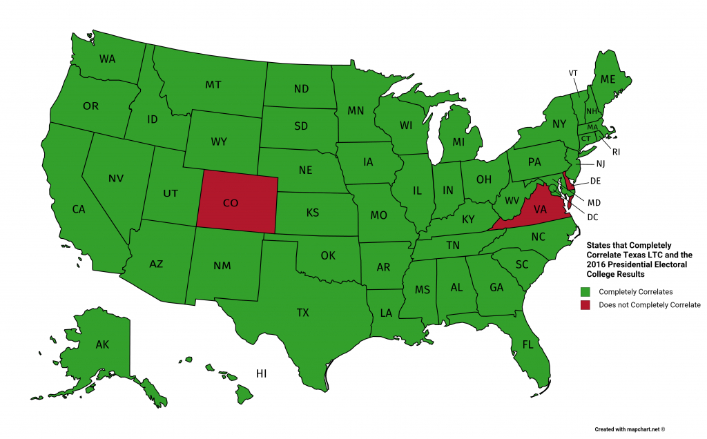 Correlating Texas License To Carry (Ltc) Reciprocity And The Us 2016 - Texas Reciprocity Map