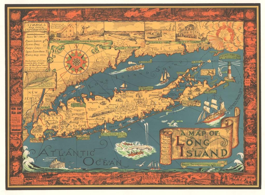 Courtland Smith's Map Of Long Island, New York 1933 / 1961 - Printable Map Of Long Island