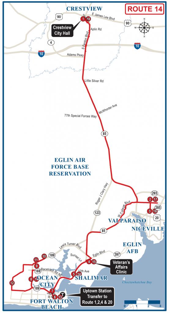 Crestview / Fwb Wave Express Route 14 - Ec Rider - Niceville Florida Map