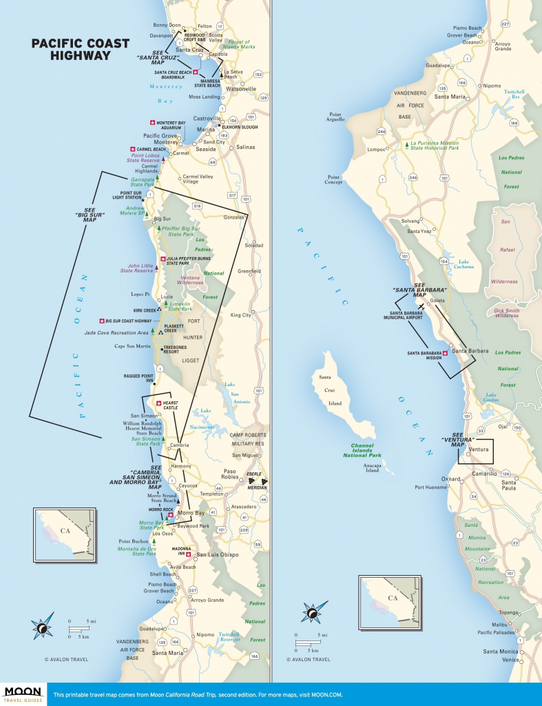 Cruz Of Santa – Map California Coast Usa District Kxpziu - Map Of La California Coast