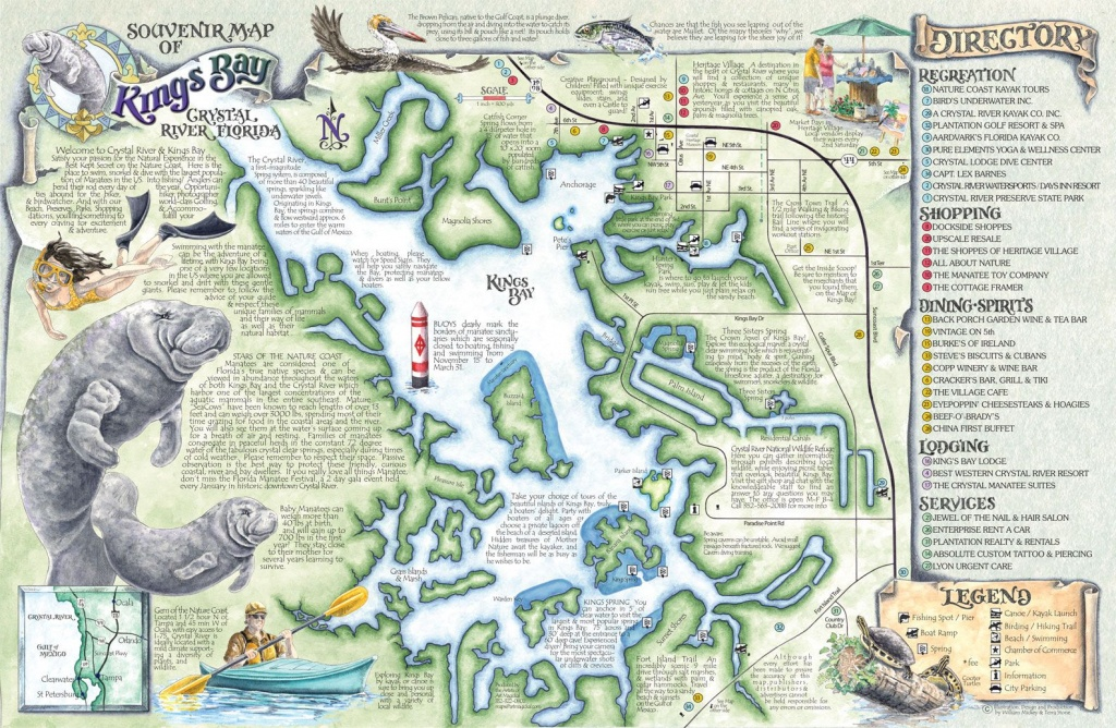 Crystal River's Spring Maps | The Souvenir Map & Guide Of Kings Bay - Springs Map Florida
