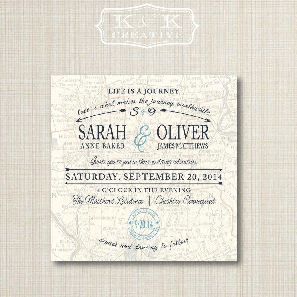 Custom Map Printable Wedding Invitation 5X5Kandkcreative, $20.00 - How To Create A Printable Map For A Wedding Invitation