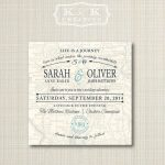 Custom Map Printable Wedding Invitation 5X5Kandkcreative, $20.00   Maps For Wedding Invitations Free Printable