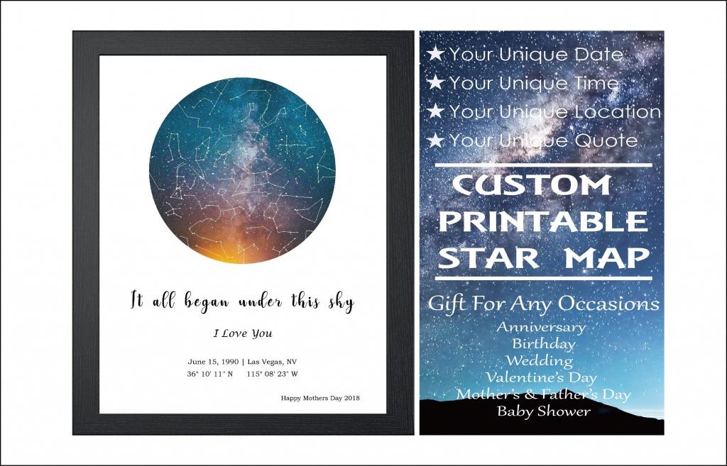 Custom Star Mapdate Digital Download Night Sky Poster | Etsy - Printable Star Map By Date