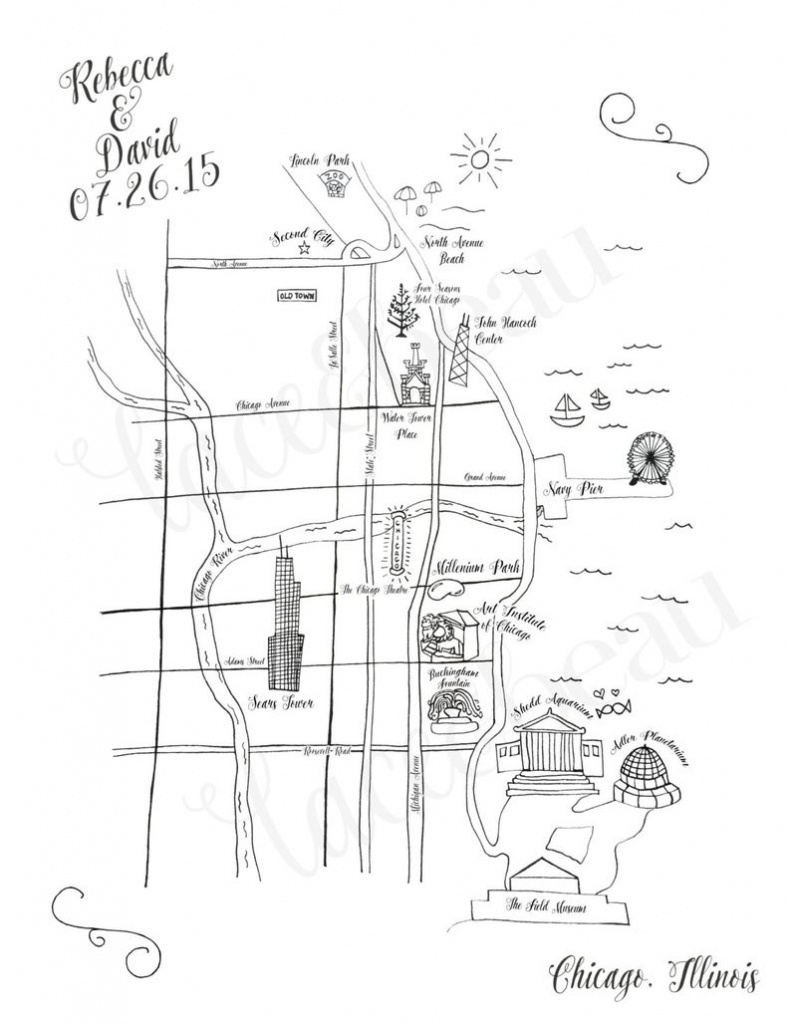 Custom Wedding Map Chicago Wedding Map Save The Date Wedding | Etsy - Free Printable Wedding Maps