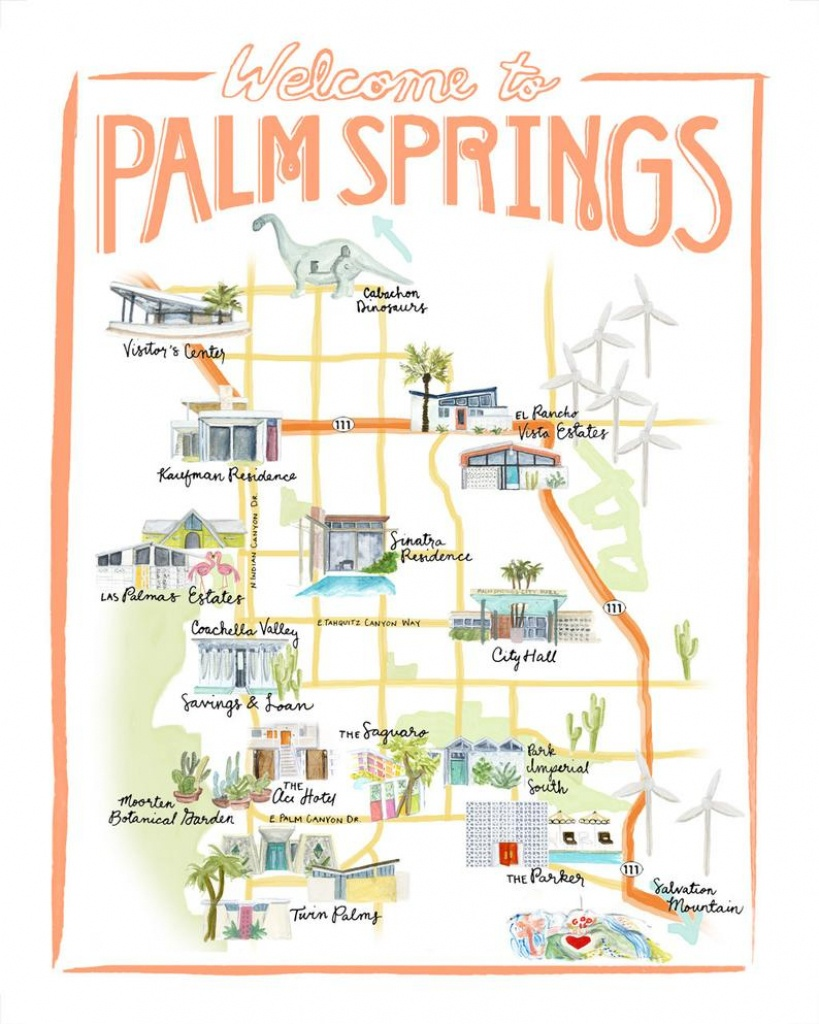 Customizable Palm Springs Map Illustration | Etsy - Map Of California Showing Palm Springs