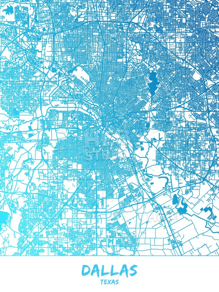 Dallas, Texas - Map Poster Design | Hebstreits Sketches - Texas Map Poster